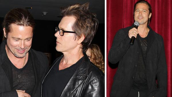 Co-host Brad Pitt and actor Kevin Bacon appear at an after party following a special tastemaker screening of Paramount Pictures new film World War Z at The Museum of Modern Art in New York on Wednesday, May 22, 2013. - Provided courtesy of Dave Allocca / Startraks for Paramount Pictures