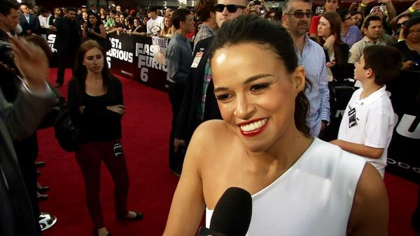 Michelle Rodriguez talks to OTRC.com at the L.A. premiere of the 2013 movie Fast and Furious 6.