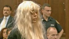 Amanda Bynes appears before a New York judge on Friday, May 24, 2013. She was arrested in Manhattan. Police said the actress threw a bong out of a window. - Provided courtesy of OTRC