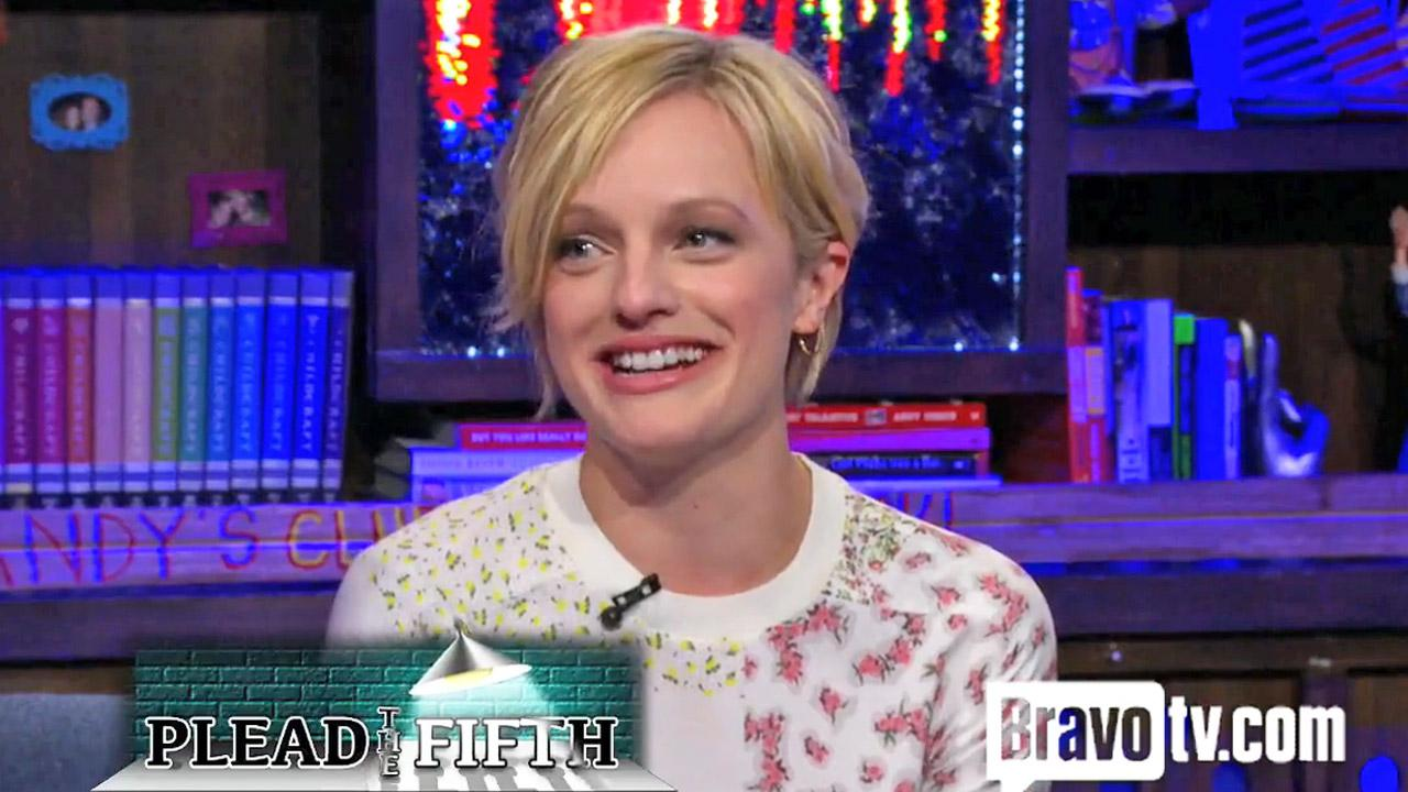 Elisabeth Moss appears on Bravos late night talk show, Watch What Happens Live, in May 2013.