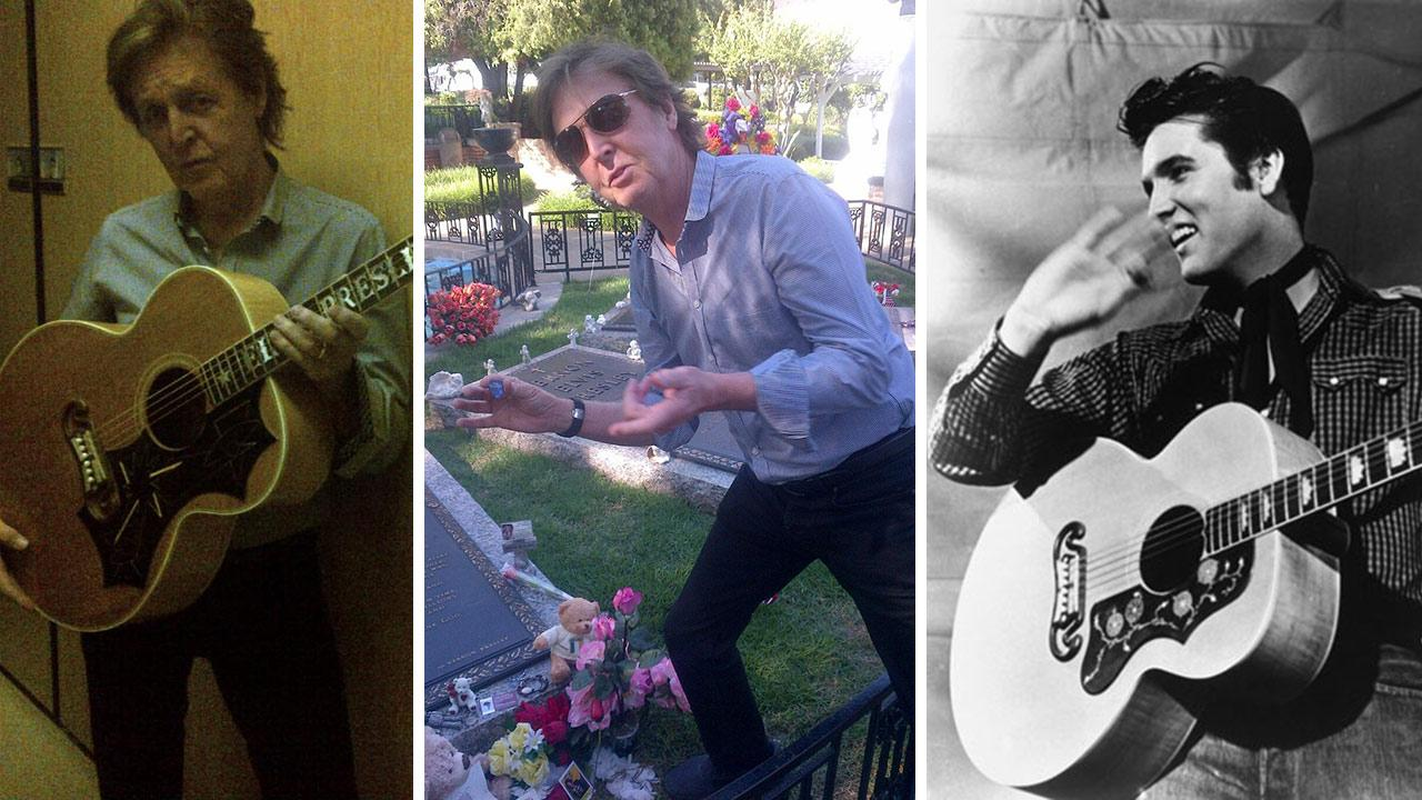 Paul McCartney holds one of Elvis guitars at Graceland in Memphis, Tennessee on May 26, 2013. / Paul McCartney holds a guitar pick over the grave of Elvis Presley. /  Elvis Presley appears with his Gibson J-200 guitar in 1957.