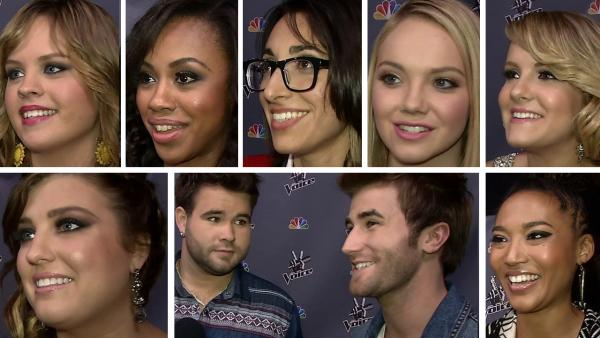 Clockwise from top L: Holly Tucker, Sasha Allen, Michelle Chamuel, Danielle Bradbery, Amber Carrington, Judith Hill, the Swon Brothers -- Zach and Colton -- and Sarah Simmons talk to OTRC.com after a live taping of The Voice season 4 on May 27, 2013. - Provided courtesy of OTRC