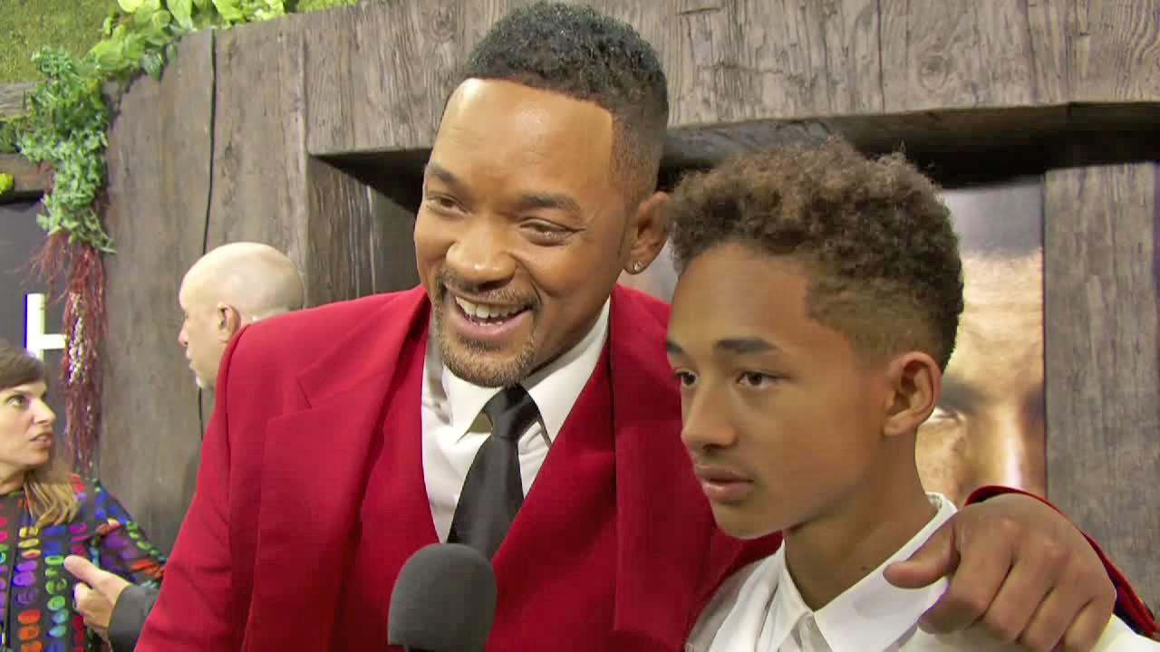 Will Smith and his son Jaden Smith talk to reporters at the New York City premiere of their film After Earth on May 29, 2013.