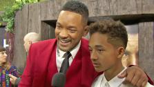 Will Smith and his son Jaden Smith talk to reporters at the New York City premiere of their film After Earth on May 29, 2013. - Provided courtesy of COLUMBIA PICTURES