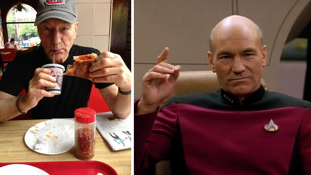 Patrick Stewart appears in a photo posted on his Twitter page on May 29, 2013. / Patrick Stewart appears in Star Trek: The Next Generation.