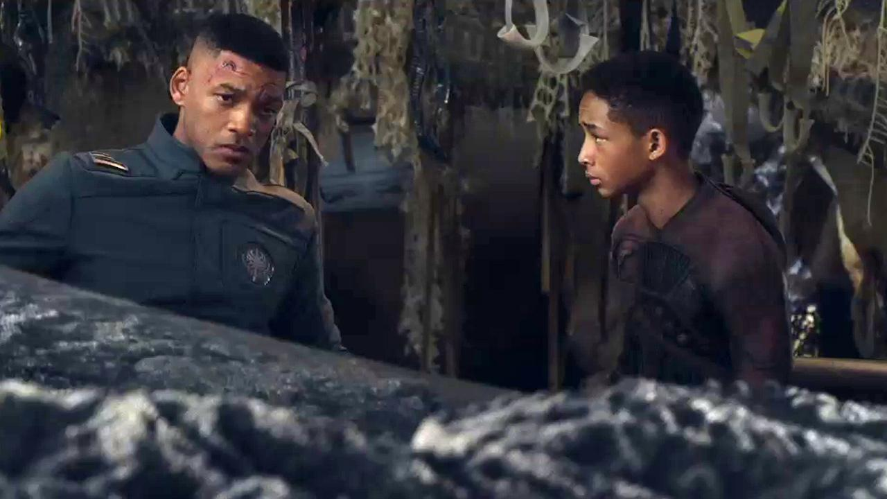 Will Smith and Jaden Smith appear in a scene from the 2013 movie After Earth.