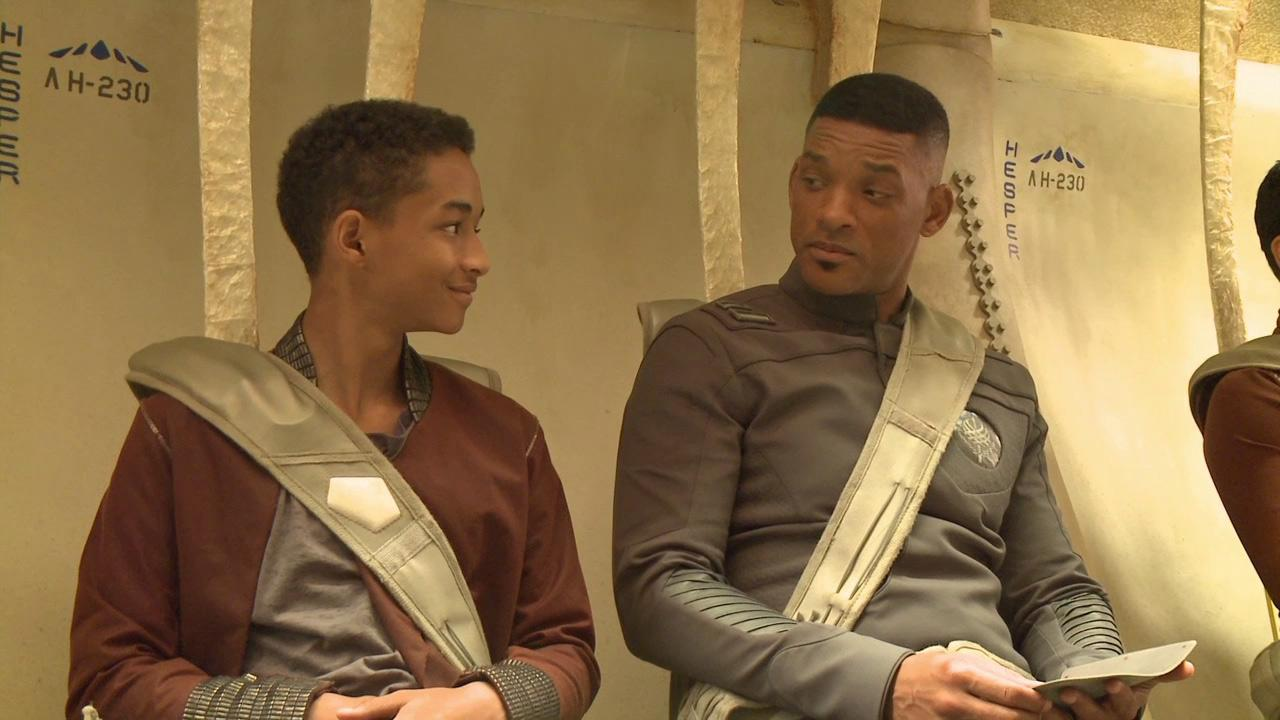 Will Smith and Jaden Smith appears on the set of the 2013 movie After Earth.