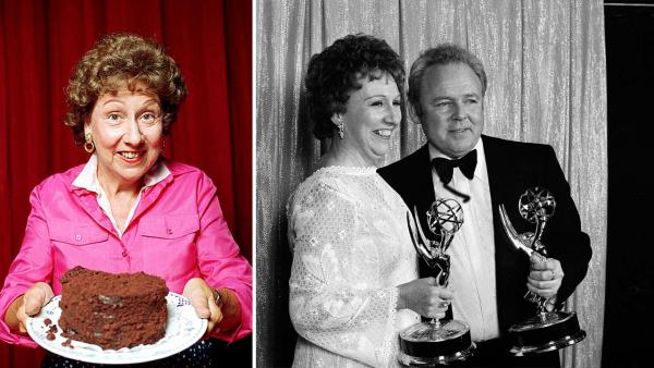 Actress Jean Stapleton stars in an off-Broadway musical  'Bon Appetit.' Photo is undated. / Actors Carroll O'Connor, left, and Jean Stapleton' smile as they hold the Emmys they won, May 15, 1972.