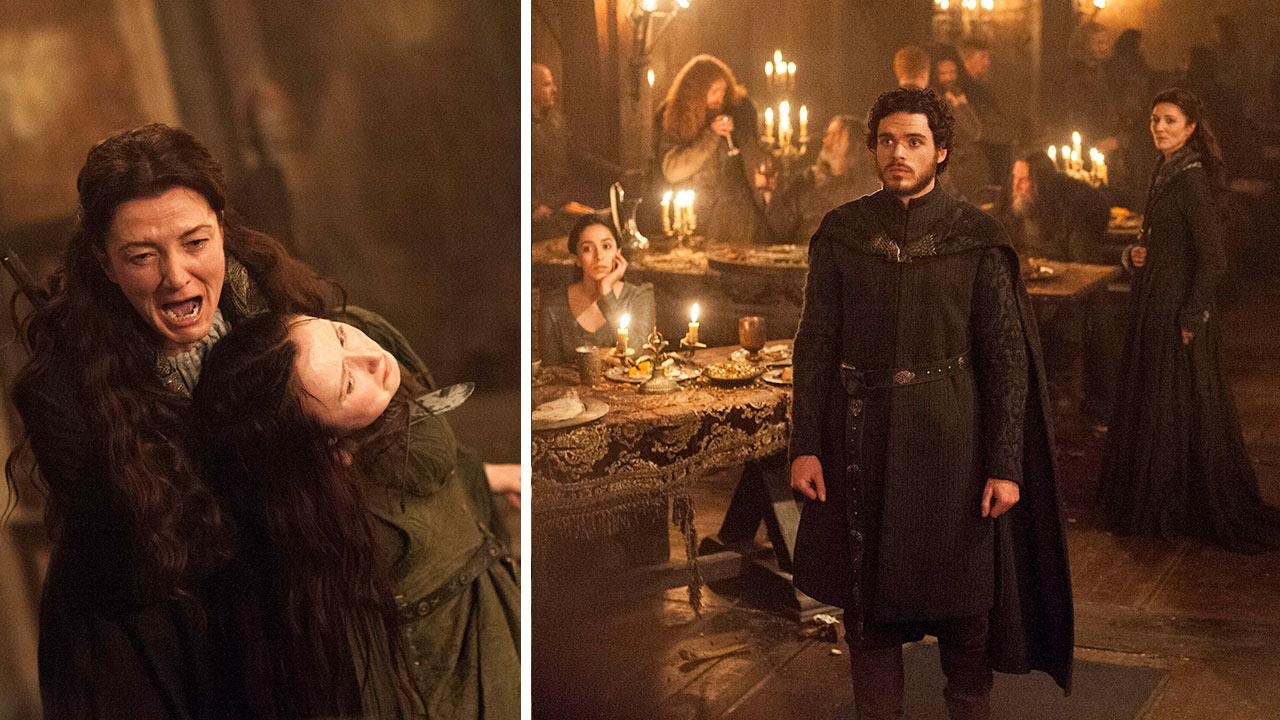 From R-L: Michelle Fairley, Kelly Long / Oona Chaplin, Richard Madden and Michelle Fairley appear at the Red Wedding in a Game of Thrones episode that aired on HBO on June 2, 2013.