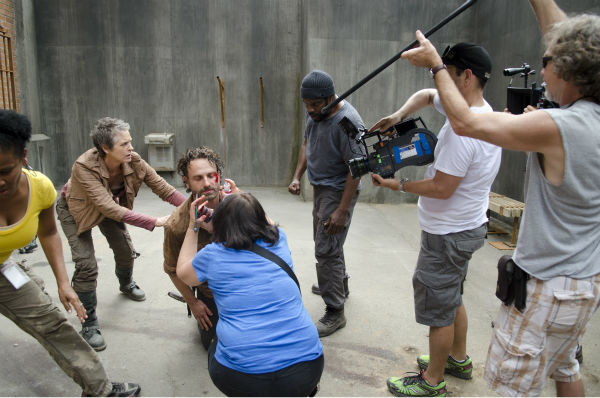"<div class=""meta image-caption""><div class=""origin-logo origin-image ""><span></span></div><span class=""caption-text"">Melissa McBride (Carol), Andrew Lincoln (Rick Grimes) and Chad Coleman (Tyreese)  appear on the set of AMC's 'The Walking Dead' while filming episode 3 of season 4, titled 'Isolation,' which aired on Oct. 27, 2013. (Gene Page / AMC)</span></div>"