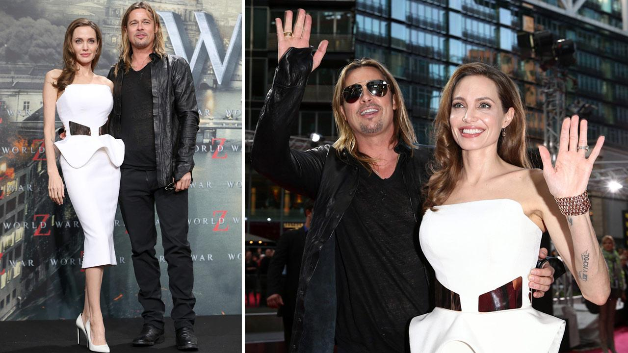 Brad Pitt and Angelina Jolie at the Berlin premiere of World War Z, at the Cinestar Sony Center, Potsdamer Platz in Berlin, Germany on June 4th, 2013.