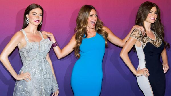 Sofia Vergara, left, unveils her Madame Tussauds wax figure on Tuesday, June 4, 2013 in New York. - Provided courtesy of Charles Sykes/Invision/AP