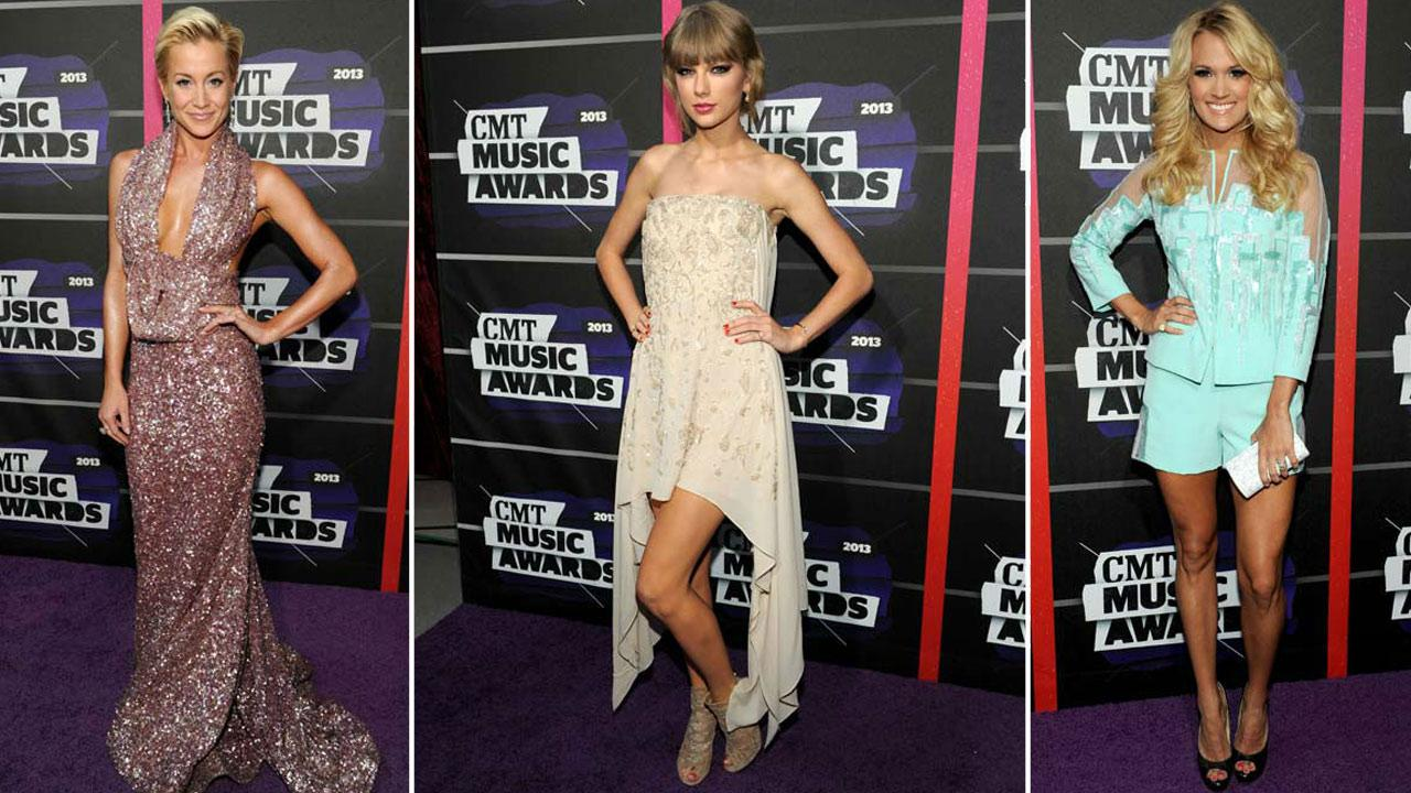 Carrie Underwood, Taylor Swift and Kellie Pickler arrive to the 2013 CMT Music Awards in Nashville, Tenn. on Wednesday, June 5, 2013.