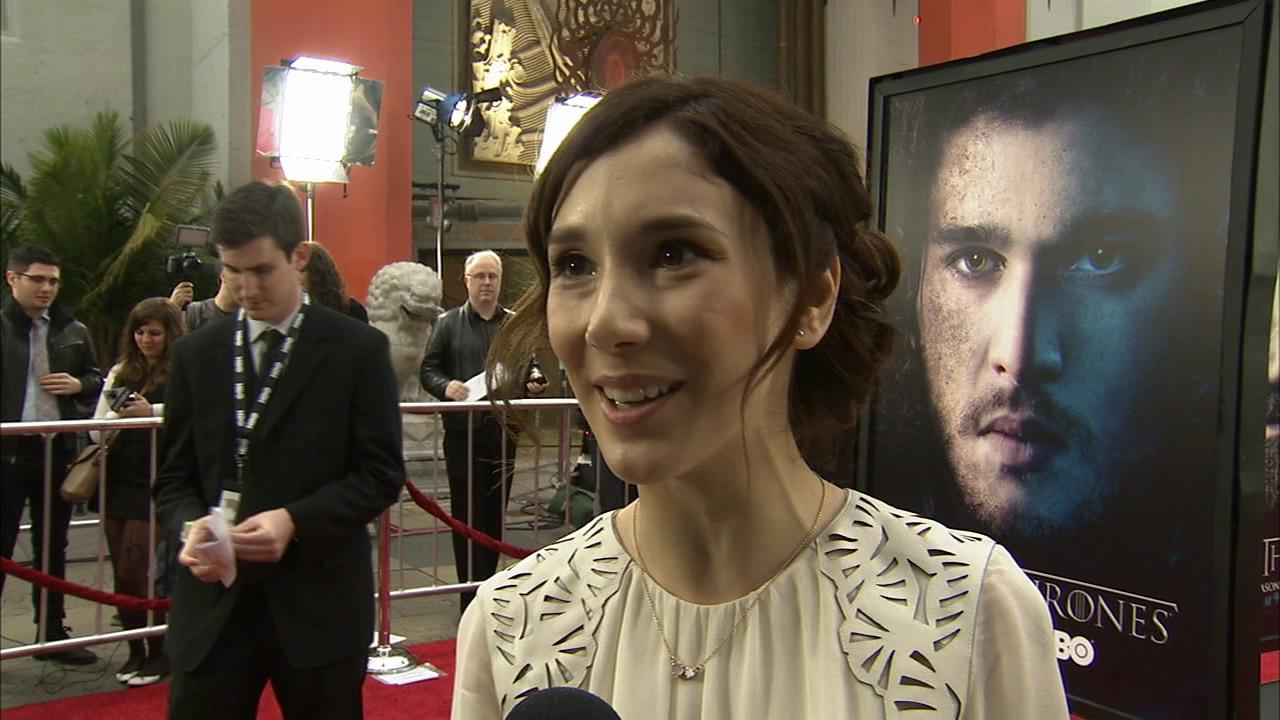 Sibel Kekilli, who plays Shae on Game of Thrones, talks to OTRC.com at the premiere of the HBO shows season 3 in Los Angeles on March 18, 2013.