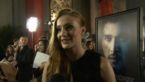 Sophie Turner, who plays Sansa Stark on 'Game of Thrones, talks to OTRC.com at the premiere of the HBO show's season 3 in Los Angeles on March 18, 2013.