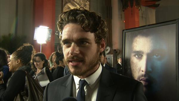 Richard Madden, who plays Robb Stark on 'Game of Thrones, talks to OTRC.com at the premiere of the HBO show's season 3 in Los Angeles on March 18, 2013