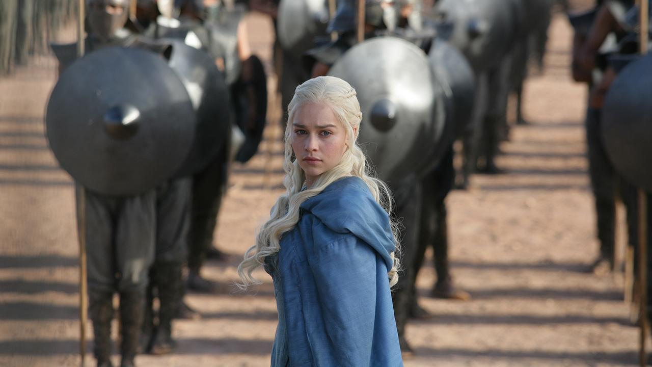 Emilia Clarke appears as Daenerys Targaryen in a scene from season 3 of the HBO series Game of Thrones.