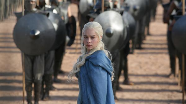 Emilia Clarke appears as Daenerys Targaryen in a scene from season 3 of the HBO series Game of Thrones. - Provided courtesy of HBO / Helen Sloane