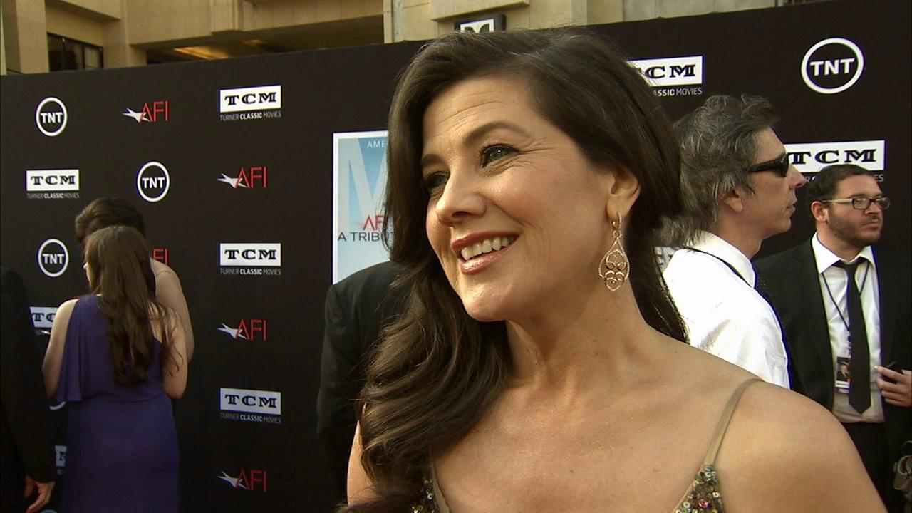 Daphne Zuniga talks to OTRC.com on the red carpet at the American Film Institutes 41st Lifetime Achievement Gala, honoring Mel Brooks, at the Dolby Theatre in Los Angeles on Thursday, June 6, 2013.