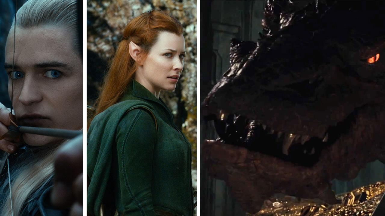Legolas (Orlando Bloom), Tauriel (Evangeline Lilly) and Smaug the dragon (voiced by Benedict Cumberbatch) appear in scenes from the 2013 movie The Hobbit: The Desolation of Smaug.