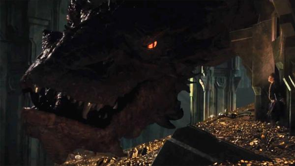 Smaug the dragon (voiced by Benedict Cumberbatch) appears in a scene from the 2013 movie