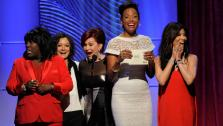 Presenters, from left, Sheryl Underwood, Sara Gilbert, Sharon Osbourne, Aisha Tyler and Julie Chen react after receiving the incorrect results on stage at the 40th Annual Daytime Emmy Awards on Sunday, June 16, 2013, in Beverly Hills, Calif. - Provided courtesy of Chris Pizzello/Invision/AP