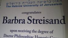 A banner congratulating Barbra Streisand on her honorary doctor of philosophy degree from Hebrew University in Jerusalem, Israel, which she received on June 17, 2013. - Provided courtesy of OTRC / Courtesy of Ilan Rosenberg