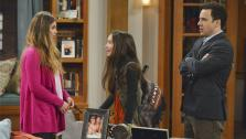 L and R: Danielle Fishel and Ben Savage reprise their roles as Topanga and Cory from Boy Meets World in spinoff Girl Meets World. They are pictured in a scene from the pilot. In the middle is their on-screen daughter, Riley, played by Rowan Blanchard. - Provided courtesy of Eric McCandless / Disney Channel