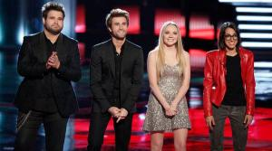 Zach Swon, Colton Swon of The Swon Brothers, Danielle Bradbery, Michelle Chamuel appear on an episode of The Voice on June 17, 2013. - Provided courtesy of Tyler Golden/NBC