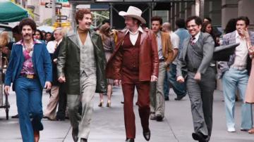 David Koechner, Paul Rudd, Will Ferrell and Steve Carell appear in a trailer for the 2013 movie Anchorman: The Legend Continues. - Provided courtesy of Paramount Pictures