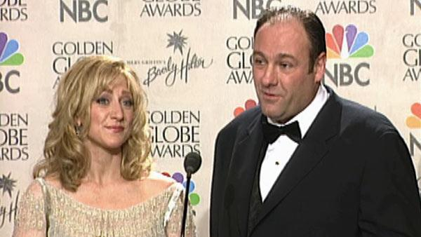Edie Falco and James Gandolfini talk to reporters backstage at the 2000 Golden Globe Awards. The two won individual awards for their leading roles in 'The Sopranos,' while the HBO series was also deemed Best TV Series - Drama.