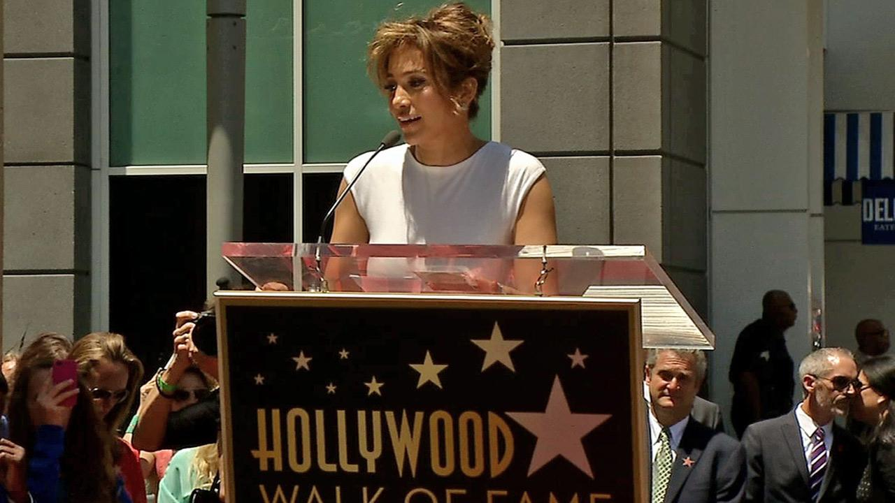 Jennifer Lopez speaks before receiving her star on the Hollywood Walk of Fame on June 20, 2013.