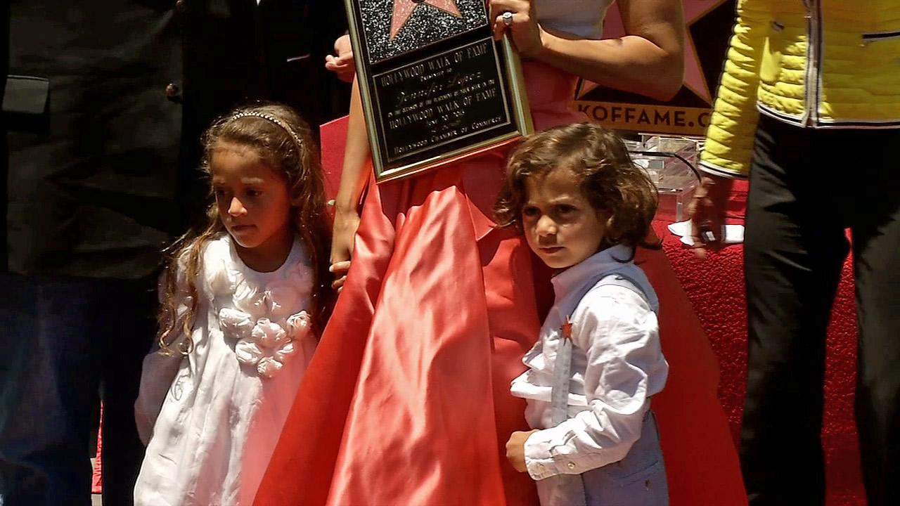 Jennifer Lopezs twins -- Max and Emme -- appear at her star ceremony on the Hollywood Walk of Fame on June 20, 2013.