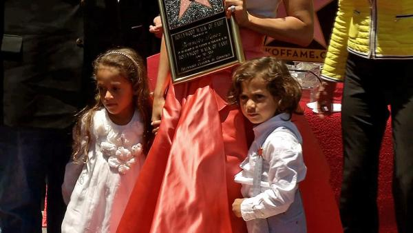 Jennifer Lopez's twins -- Max and Emme -- appear at her star ceremony on the Hollywood Walk of Fame on June 20, 2013.