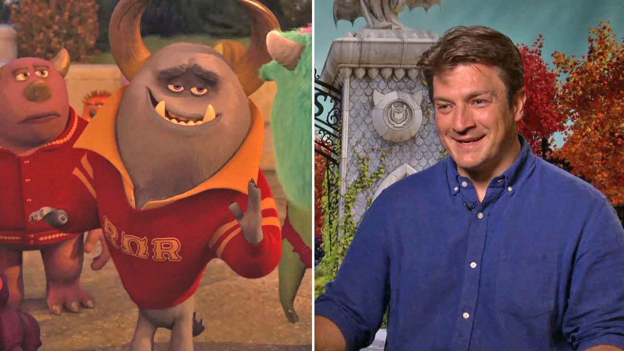 Nathan Fillions character Mike is seen in a scene from the 2013 Disney-Pixar film Monsters University. / Fillion talks to OTRC.com about his upcoming film, Monsters University, on June 17, 2013.