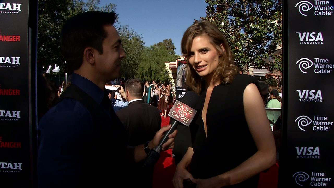 Stana Katic of ABCs Castle talks to OTRC.com at the L.A. premiere of The Lone Ranger in Disneylands California Adventure Park on June 22, 2013.