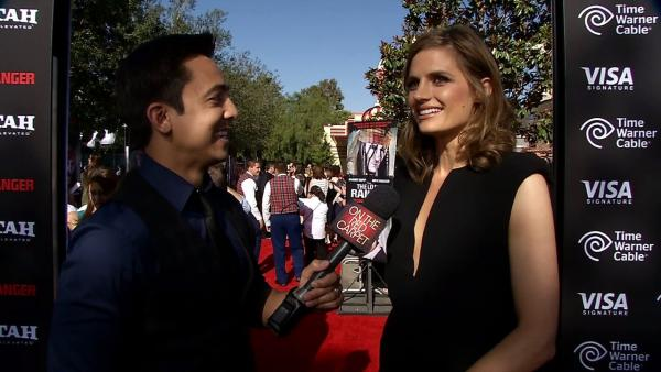 Stana Katic of ABC's 'Castle' talks to OTRC.com at the L.A. premiere of 'The Lone Ranger' in Disneyland's California Adventure Park on June 22, 2013.