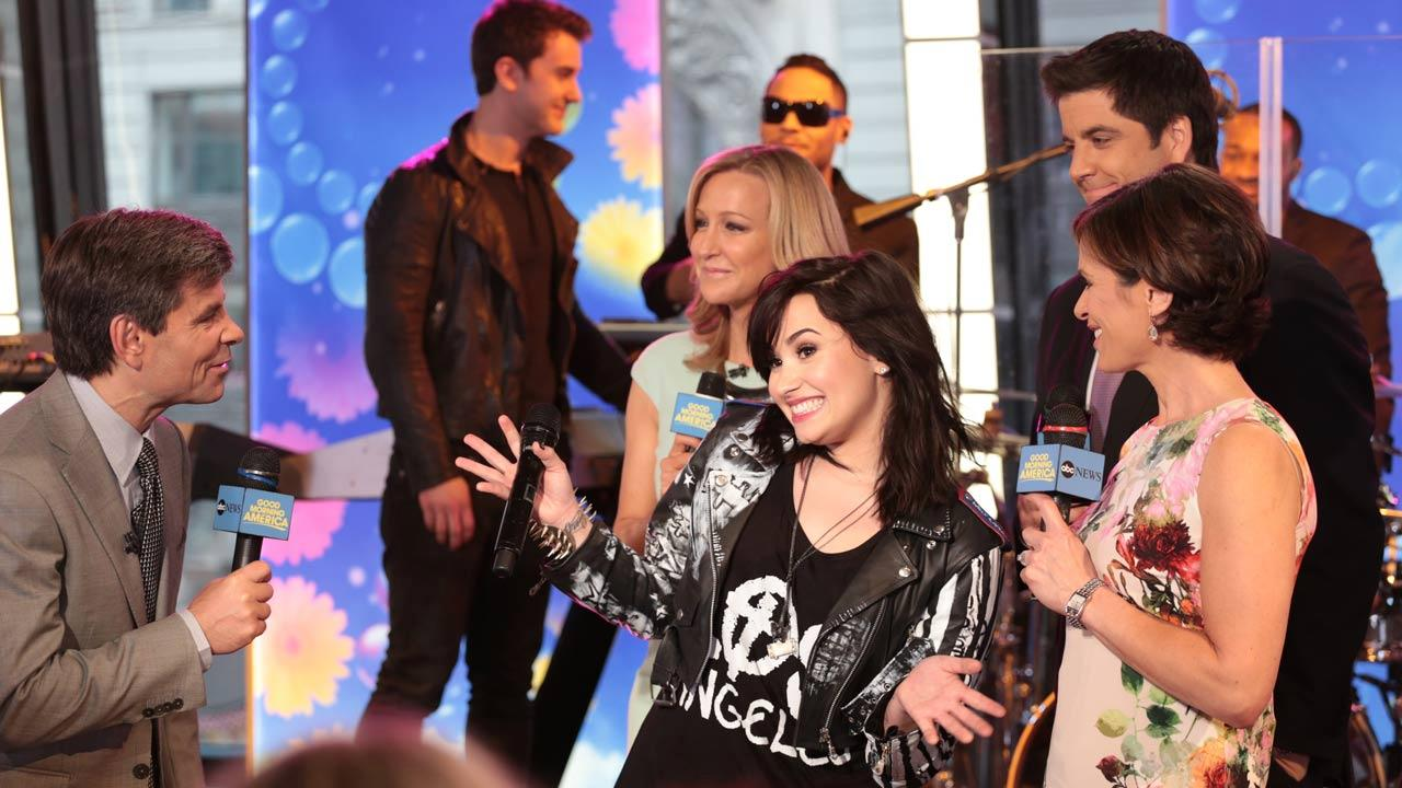Demi Lovato performs  on Good Morning America, on April 10, 2013.Fred Lee