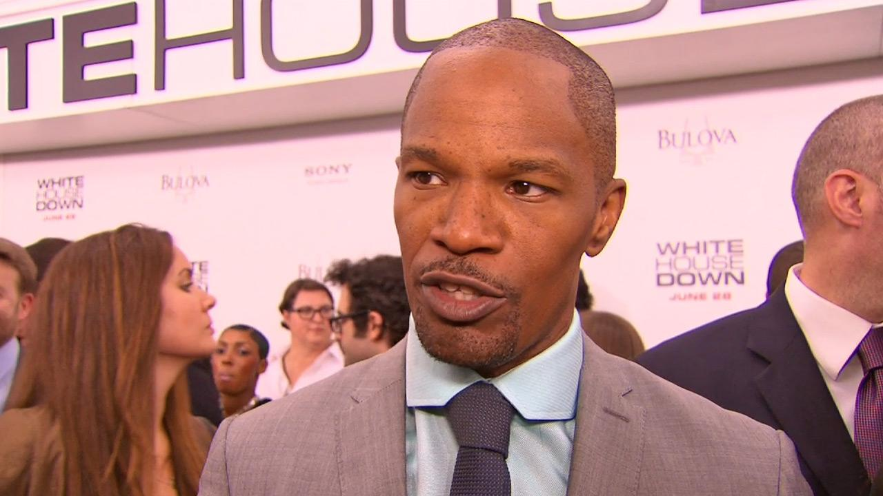 Jamie Foxx talked about his 2013 action film, White House Down, which also stars Channing Tatum, at the New York premiere.