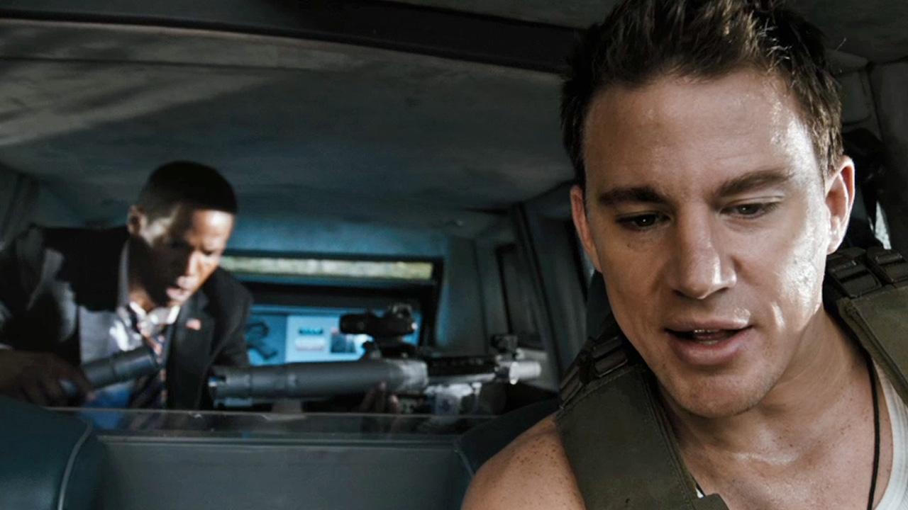 Channing Tatum appears in a scene from his 2013 action film, White House Down, which also stars Jamie Foxx. Check it out!Columbia Pictures
