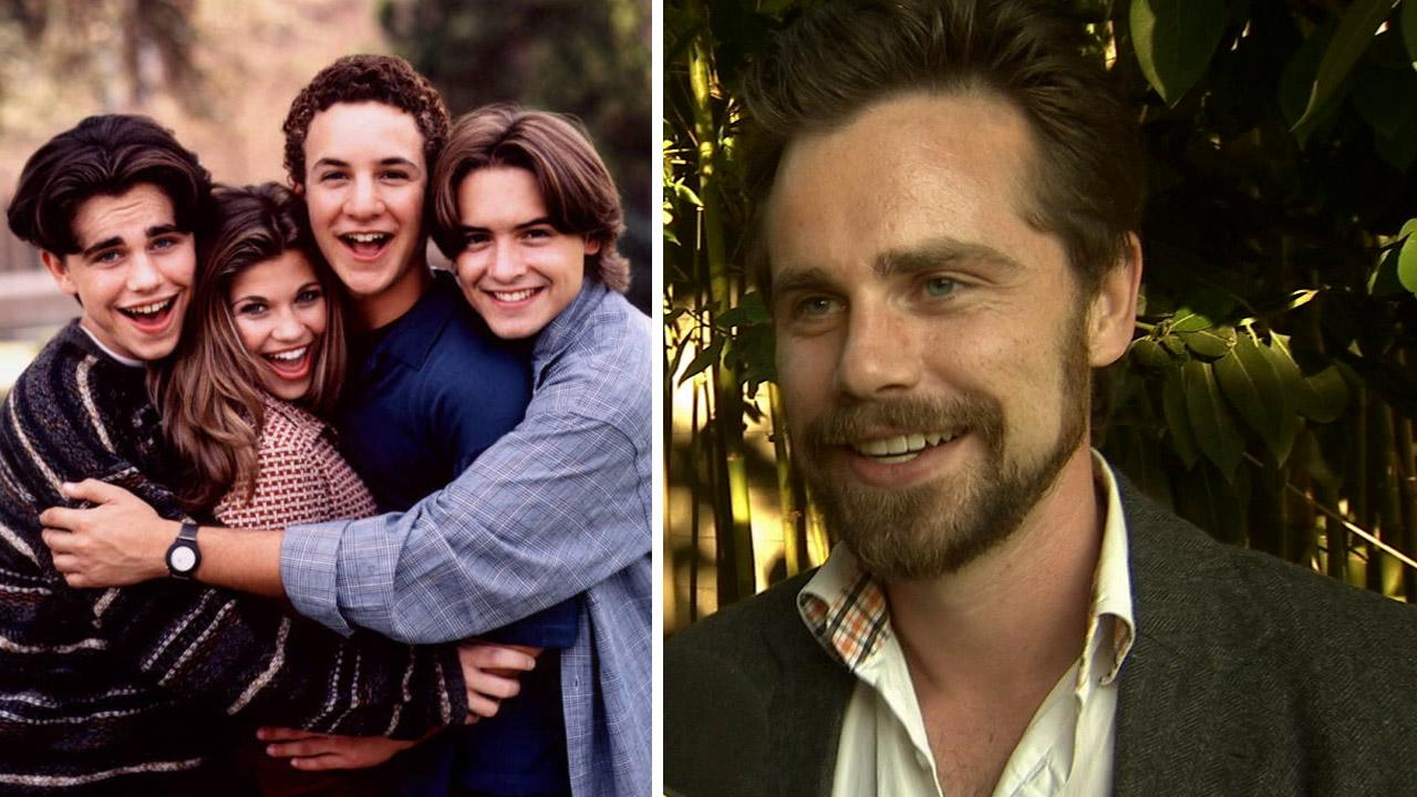 Rider Strong (left) appears with co-stars Danielle Fishel, Ben Savage and Will Friedle in a promotional photo for the show Boy Meets World. / Rider Strong talks to OTRC.com at the premiere of the film Some Girl(s) in Los Angeles on June 26, 2013. <span class=meta>(ABC)</span>