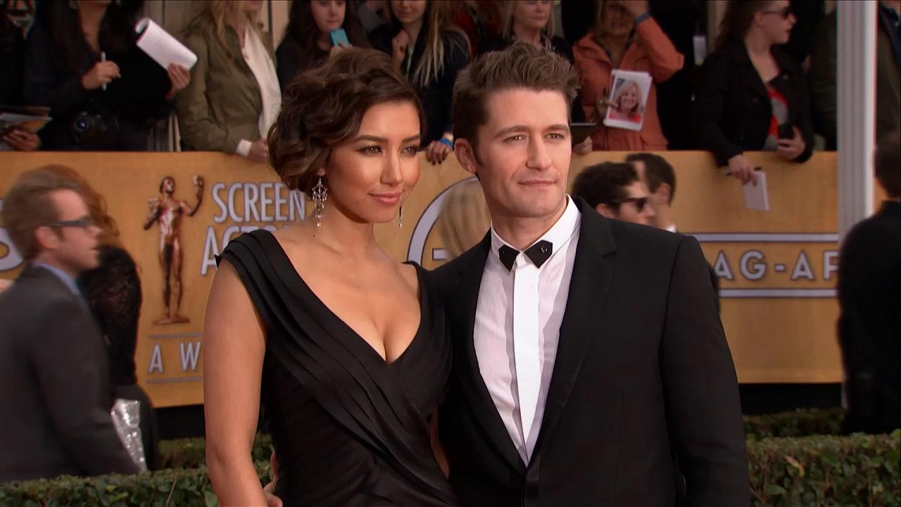 Glee star Matthew Morrison and Renee Puente pose on the red carpet at the 2013 SAG Awards in L.A. on Jan. 27, 2013.