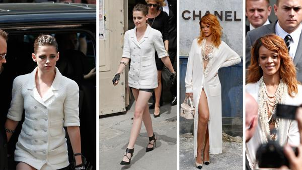 Kristen Stewart and Rihanna appear at Chanels Haute Couture Fall-Winter 2013-2014 collection, presented on Tuesday, July 2, 2013 in Paris. - Provided courtesy of AP Photo / Thibault Camus / Francois Mori