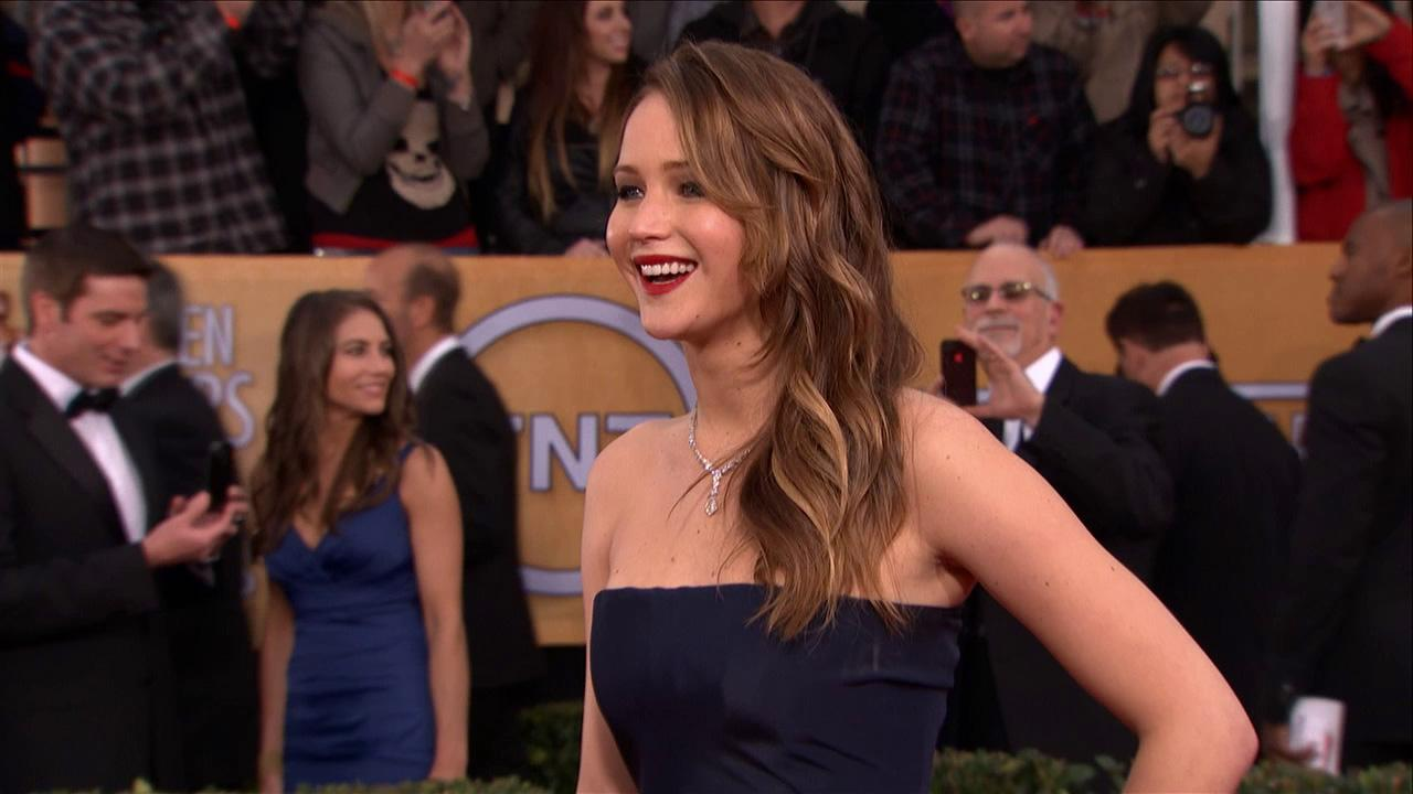 Jennifer Lawrence poses on the red carpet at the 2013 SAG Awards in Los Angeles on Jan. 27, 2013.