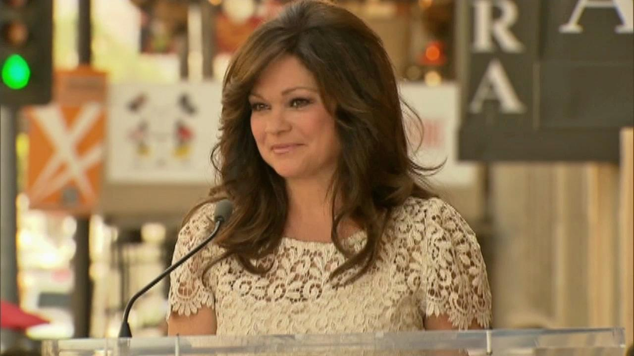 Valerie Bertinelli gives a speech before the unveling of her star on the Hollywood Walk of Fame on Aug. 22, 2012