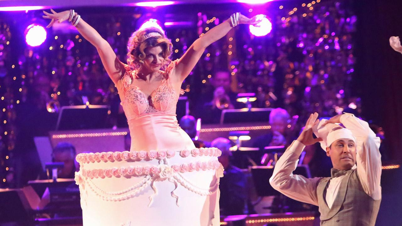 Actress Kirstie Alley and her partner Maksim Chmerkovskiy received 30 out of 40 points from the judges for their Charleston on Dancing With The Stars: All-Stars on October 15, 2012.ABC Photo / Adam Taylor