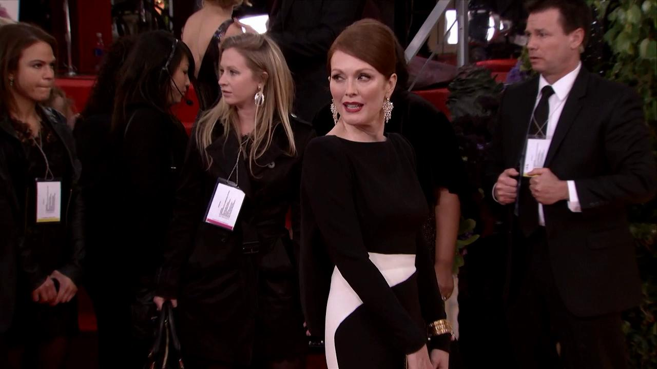 Julianne Moore appears at the 2013 Golden Globe Awards in Beverly Hills, California on Jan. 13, 2013.