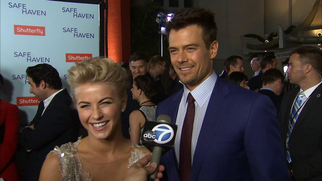 Julianne Hough and Josh Duhamel talk to OTRC.com at the premiere of Safe Haven on Feb. 5, 2013.