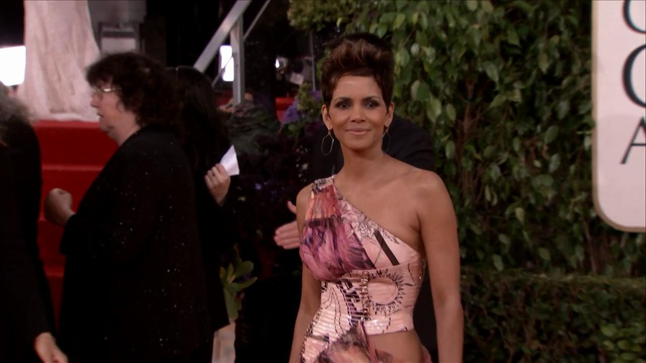 Halle Berry appears at the 2013 Golden Globe Awards in Beverly Hills, California on Jan. 13, 2013.