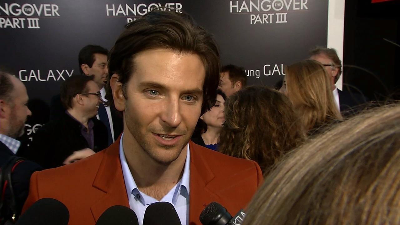 Bradley Cooper talks to OTRC.com at the premiere of the 2013 film Hangover Part III in Los Angeles on May 22, 2013.